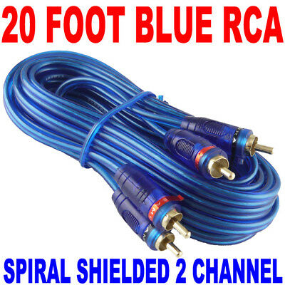 New Samurai Audio 20 Ft 2 Ch Blue Twisted Car Amp Rca Cables Interconnect 20Ft