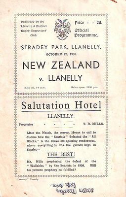NEW ZEALAND ALL BLACKS TOUR 1935 v LLANELLI RUGBY PROGRAMME