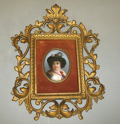 Fine Antique 19th C. Hand-Painted Plaque of Young Boy in Gilt Frame