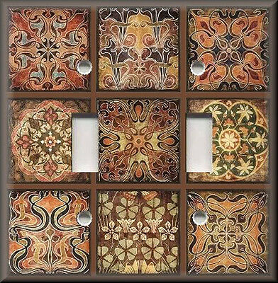 Metal Light Switch Plate Cover - Tuscan Tile Mosaic Patchwork Rust Copper Decor
