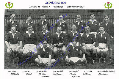 SCOTLAND 1934 (v Ireland, 24th February) RUGBY TEAM PHOTOGRAPH