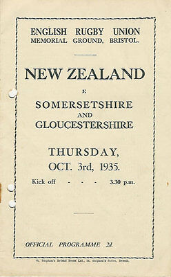 NEW ZEALAND ALL BLACKS TOUR 1935 v SOMERSETSHIRE & GLOUCESTERSHIRE RUGBY PROG