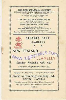 NEW ZEALAND ALL BLACKS TOUR 1953 v LLANELLY RUGBY PROGRAMME