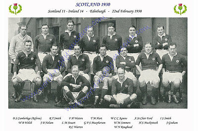 SCOTLAND 1930 (v Ireland, 22nd February) RUGBY TEAM PHOTOGRAPH