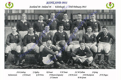 SCOTLAND 1911 (v Ireland, 25th February) RUGBY TEAM PHOTOGRAPH