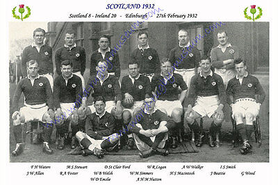 SCOTLAND 1932 (v Ireland, 27th February) RUGBY TEAM PHOTOGRAPH