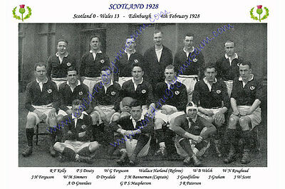 SCOTLAND 1928 (v Wales, 4th February) RUGBY TEAM PHOTOGRAPH