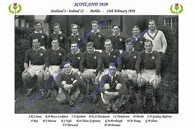 SCOTLAND 1939 (v Ireland, 25th February) RUGBY TEAM PHOTOGRAPH