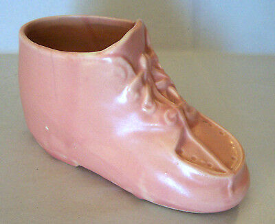 Vintage Nelson McCoy (NM) USA Pottery Pink Baby Girl Shoe Planter
