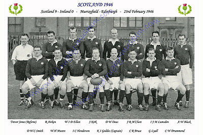 "SCOTLAND 1946 (v Ireland) 12"" x 8"" RUGBY TEAM PHOTO PLAYERS NAMED"