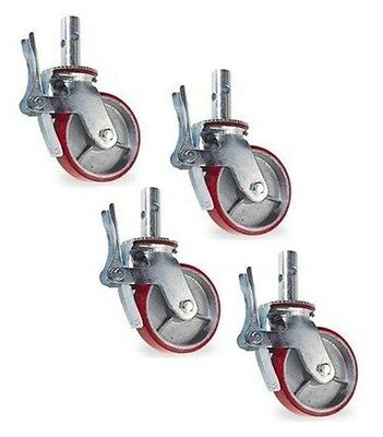 """4 Quality New Scaffolding Casters with 8"""" x 2"""" Red Polyurethane on Steel Wheels"""