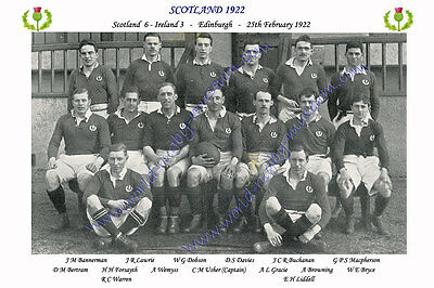 SCOTLAND 1922 (v Ireland, 25th February) RUGBY TEAM PHOTOGRAPH