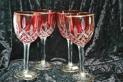 Cre Art Italian Cut Crystal Wine Glass Set of 4 Ruby Cranberry Raspberry Italy