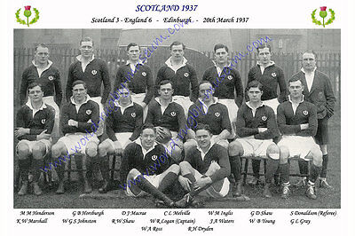SCOTLAND 1937 (v England, 20th March) RUGBY TEAM PHOTOGRAPH