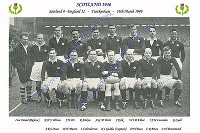 "SCOTLAND 1946 (v England) 12"" x 8"" RUGBY TEAM PHOTO PLAYERS NAMED"