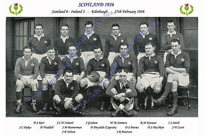 SCOTLAND 1926 (v Ireland, 27th February) RUGBY TEAM PHOTOGRAPH