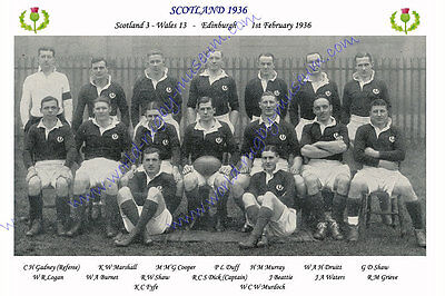 SCOTLAND 1936 (v Wales, 1st February) RUGBY TEAM PHOTOGRAPH