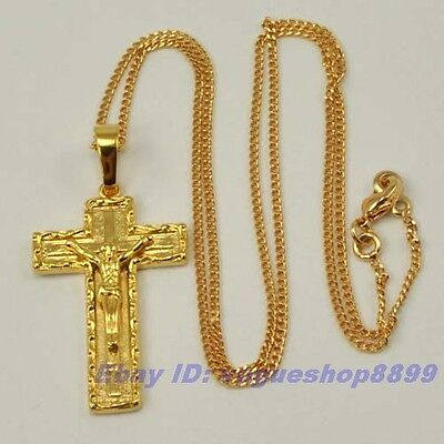 """ALLURING 18K YELLOW GOLD GP CROSS PENDANT 17.7"""" NECKLACE SOLID FILL GEP CHAIN"""