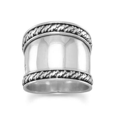 Bali Rope Edge Ring 925 Sterling Silver Very Large Wide Big Band Graduated Nice