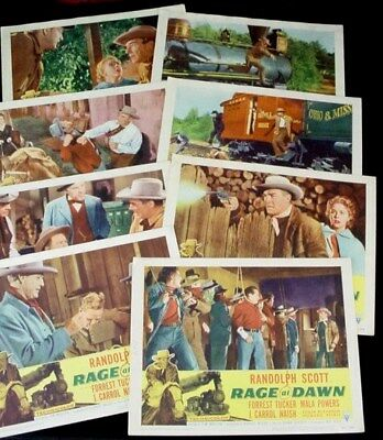 RAGE AT DAWN Complete LOBBY CARD SET 1955 RKO Western RANDOLPH SCOTT Train RR