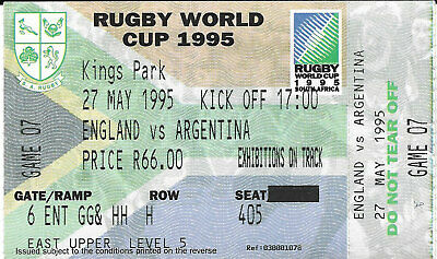 ENGLAND v ARGENTINA RUGBY WORLD CUP 1995 TICKET