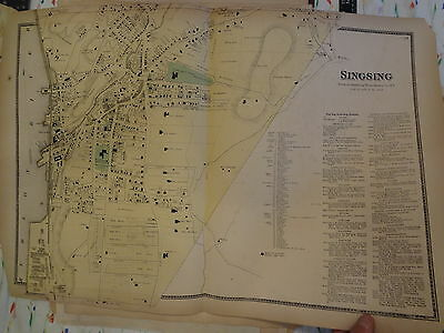 ORIGINAL 1867 Ossining Sing Sing Westchester New York NY 18 X 28 Map