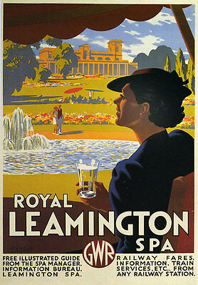 TR91 Vintage Royal Leamington Spa GWR Railway Travel Poster Re-Print A4