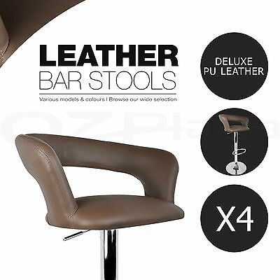 4x Bar Stool Kitchen Barstool PU Leather Chair Gas Lift Swivel Taupe 328