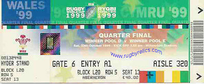 WALES v AUSTRALIA QUARTER FINAL RUGBY WORLD CUP 1999 TICKET
