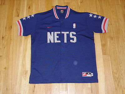 NIKE REWIND 1980 NEW JERSEY NETS RETRO YOUTH NBA TEAM BUTTON WARM UP JACKET  Med 1317140c9