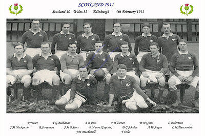 """SCOTLAND 1911 (v Wales) 12"""" x 8"""" RUGBY TEAM PHOTO PLAYERS NAMED"""