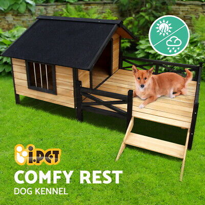 Pet Dog Kennel House with Patio Wooden Extra Large Timber Bed Porch Deck XL BK