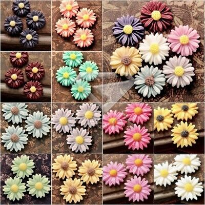 13x13mm Vintage Style Cameo Resin Cabochons Sun Flowers Assorted Jewelery Making