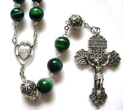 Bali sterling silver Beads & CROSS Tiger Eye Rosary crucifix catholic necklace