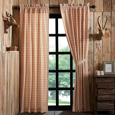 Tacoma Window Panel Set Primitive Rustic Creme Red Check Plaid Curtain Country