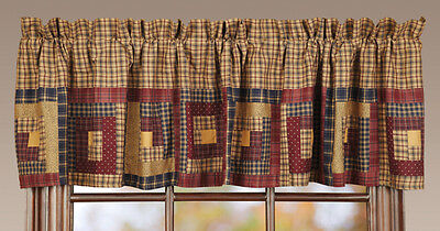 Millsboro Window Lined Valance Primitive Log Cabin Rustic Navy blue/Burgundy VHC