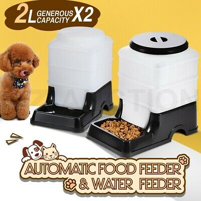 2 x Automatic Pet Feeder Waterer Dog Cat Self Feeding Food Water Bowl Set 2L BK