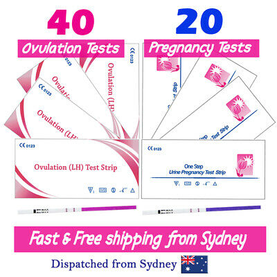 40x Ovulation Tests+20x Pregnancy Tests LH hCG Urine Strips Fertility OPK Kits