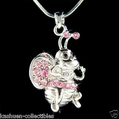 w Swarovski Crystal Pink Bumble Bee Honey Insect Keeper Charm Pendant Necklace
