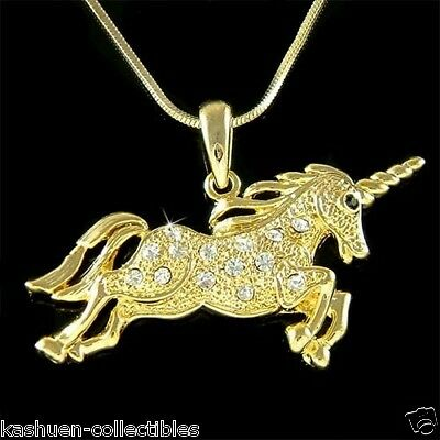 Gold Pl Fairy w Swarovski Crystal Horn HORSE Myth UNICORN Pendant Chain Necklace