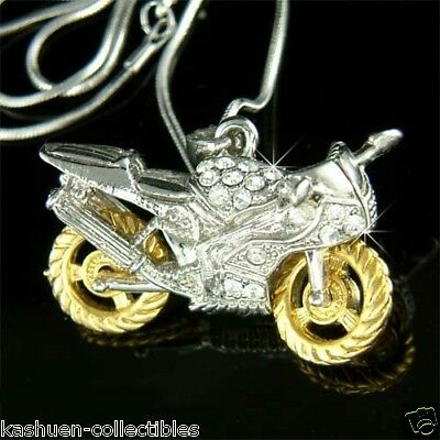 w Swarovski Crystal HOT ~3D Motorcycle Rider electric bike Cool Pendant Necklace