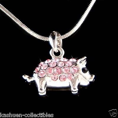 ~Pink 3D Double sided Piggy made with Swarovski crystal Cute Pig Piglet Necklace