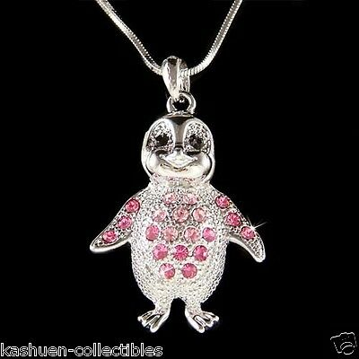 Pink Emperor Penguin made with Swarovski Crystal Antarctica Necklace Jewelry New