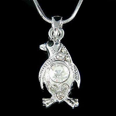 Penguin made with Swarovski Crystal Antarctica Galápagos Charm Chain Necklace