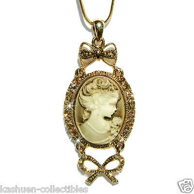 w Swarovski Crystal Victorian Style CAMEO Princess Pendant Gold P chain Necklace