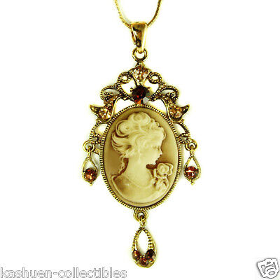w Swarovski Crystal Gold Plated Brown CAMEO Victorina Style Pendant Necklace New