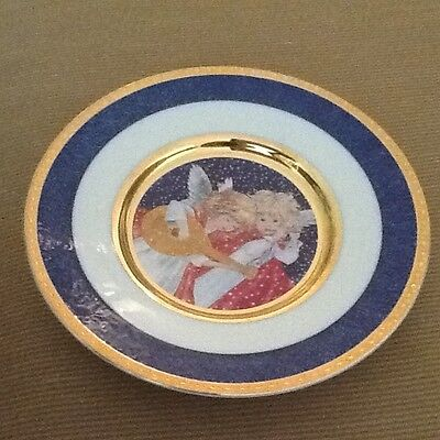 Vintage Japan Dufeh Art Angel Collector Plate With Stunning 14 Kt Enamel Dream