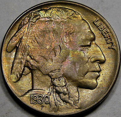 1930 Buffalo Nickel Gem BU+... Flashy with Pretty Rose and Aqua Toning, So NICE!