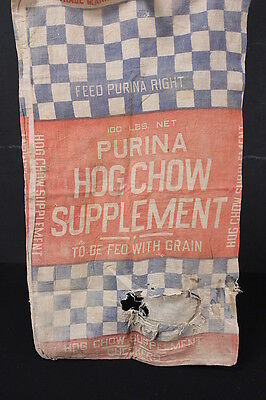 Purina Checkerboard Muslin Sack Blue Red Graphics 100 Lbs Hog Chow Supplement