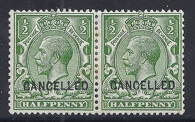 GB SG N14v KGV ½d GREEN OVPT CANCELLED MINT PAIR TYPE 24